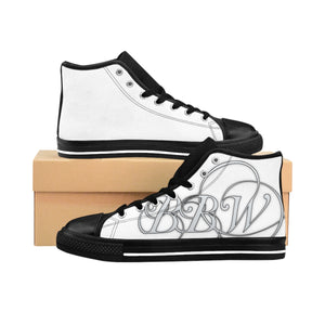"BBW - ""Beautiful Black Women"" Line - White Logo Custom Women's High-Top Sneakers"