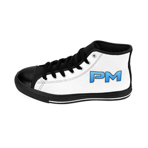 "P.M. - ""Perfect Makeup"" Line - Baby Blue Logo Custom Design Women's High-Top Sneakers"