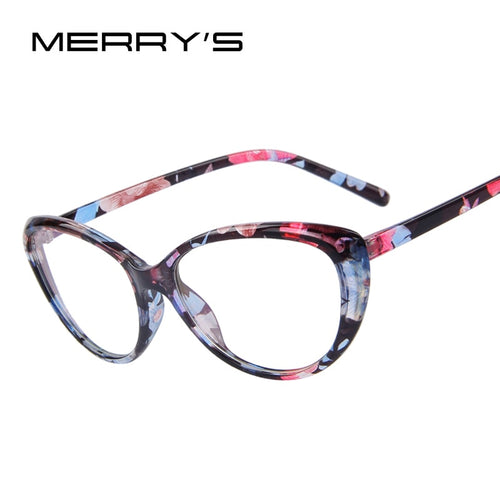 MERRY'S Women Fashion Cat Eye Glasses Complete With Print Frame & Clear Stylish Lens