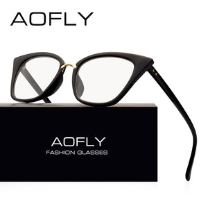 AOFLY BRAND DESIGN Women's Plain Cat Eye Glasses. Clear Frame Optical Lens Spectacle Fashion Goggles