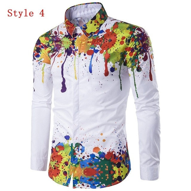 *On Sale* Men's 3D Ink Printed Long Sleeve Spring Lapel Casual Hip Pop Slim Fit Fashion Paint Dress Shirts