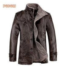 Load image into Gallery viewer, Warm Winter Men's Thicken Faux Fur Retro Jacket. Windproof Leather & Slim Fit