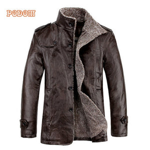 Warm Winter Men's Thicken Faux Fur Retro Jacket. Windproof Leather & Slim Fit