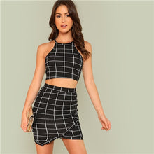Load image into Gallery viewer, SHEIN Elegant Black and White Female Office Work Wear Two Piece Set. Plaid Grid Crop Halter Top Wrap Skirt