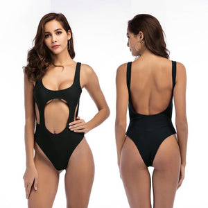 2019 New Women's Halter Bikini Swimsuit With Sexy High Cut One Piece Bodysuit Fit