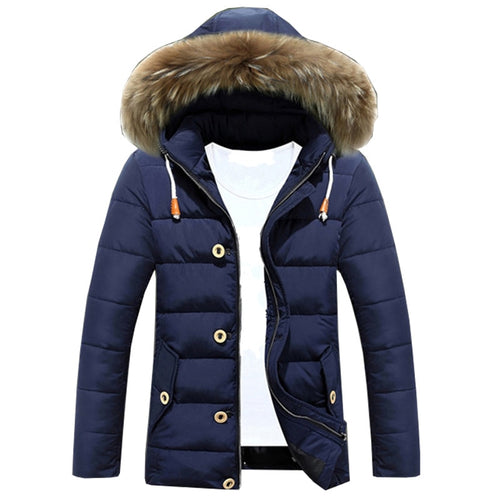 Men's Winter Down Fur Collar Fleece Cotton Padded Jackets. Comfortable Hooded Parka Outwear