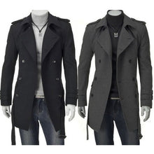 Load image into Gallery viewer, Men's Black Grey Faux Wool Trench Cardigan Belted Business Slim Fit Long Coat Outwear