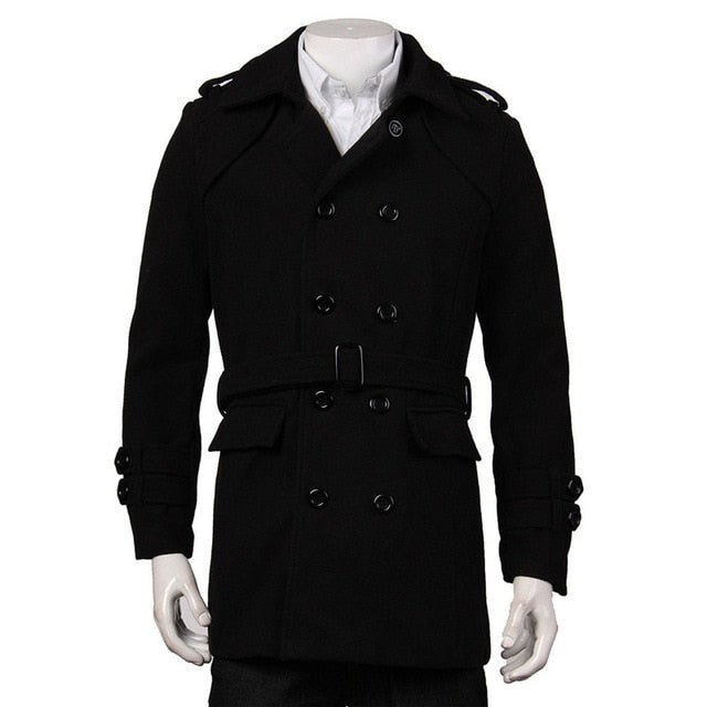 Men's Black Grey Faux Wool Trench Cardigan Belted Business Slim Fit Long Coat Outwear