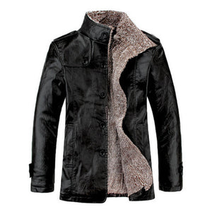 Fashion Cowboy Men's Windproof Thicken Faux Fur Retro Jacket. Leather Windproof Slim Fit