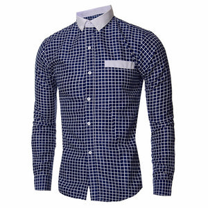 Stylish Autumn Men's Long Sleeve Classic Plaided Social, Formal, Dress, Business Shirts