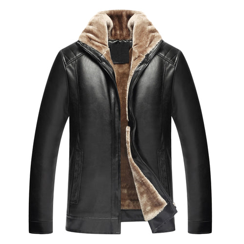 Classic Men's PU Leather Fleece Jacket Thick Zipper Slim Fit Outwear by Jaqueta NEW