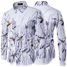 Load image into Gallery viewer, *On Sale* Autumn-Spring Retro Men's Long Sleeve Floral Bird Lapel Veck Dress Shirt