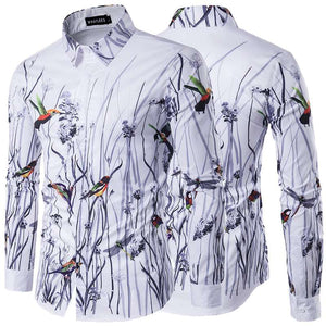 *On Sale* Autumn-Spring Retro Men's Long Sleeve Floral Bird Lapel Veck Dress Shirt