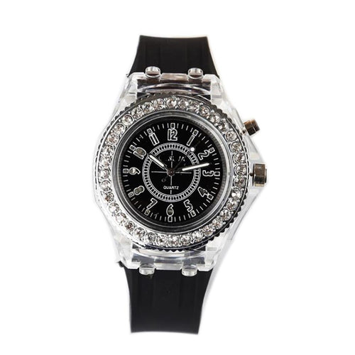 LED Women's Fashion Luminous Glow Quartz Rhinestone 5 inch Wristwatch
