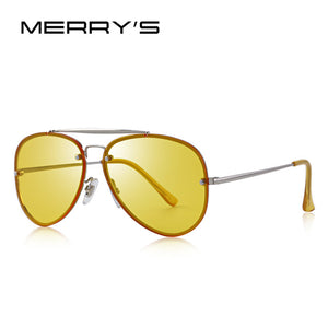 MERRY's Design Men/Women Fashion Pilot Sunglasses. Twin-Beams Frame 100% Metal Temple UV Protection