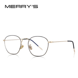 MERRY's Design Men's/Women's Fashion Rectangle Retro Blue Glasses With Light Blocking Optical Frames