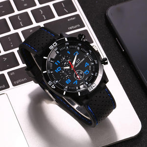 Men's Sports Silicone Strap Analog Black Clock Dial Lifetime Waterproof Wrist Watch