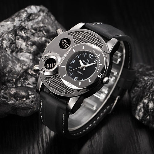 Men's Military Quartz Silicone Strap Time Zone Display Wrist Watch.