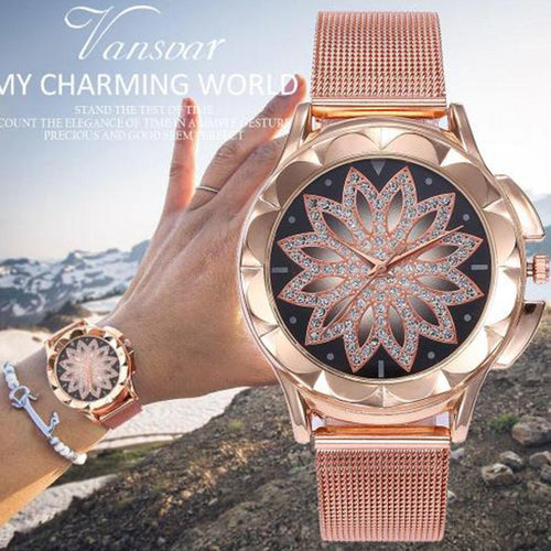 Hot Selling Luxury Time Come Luck Change Women's Petal Fashion Quartz Rose Watch