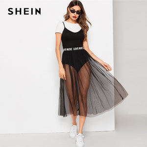 SHEIN Stylish Black Solid Cami Skinny Bodysuit & Sheer (Love Music) Lettering Mesh Waist Midi Skirt Set.
