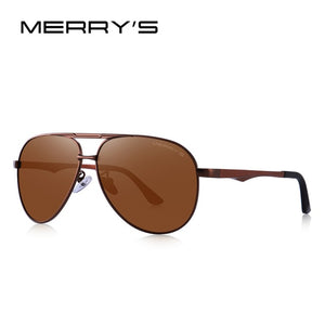 MERRY's DESIGN Men's Classic Pilot HD Polarized Sun Glasses. Driving Aluminum Legs UV400 Protection