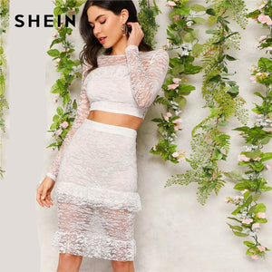 SHEIN White Flounce Trim Lace Crop Top and Skirt Set Women's Summer Sheer Blouse Two Piece Set