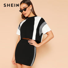 Load image into Gallery viewer, SHEIN 2019 Black and White Spring Plaid Panel Two-Tone Top And Skirt Set.