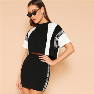 SHEIN 2019 Black and White Spring Plaid Panel Two-Tone Top And Skirt Set.