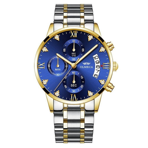 Men Business Casual 30 Meters Waterpoof Quartz Bracelet Clasp Multi-Function Watch