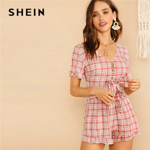 SHEIN Lady V-Neck Front Knot Button Plaid Crop Top And Summer Shorts Set.