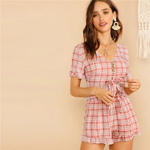 Load image into Gallery viewer, SHEIN Lady V-Neck Front Knot Button Plaid Crop Top And Summer Shorts Set.