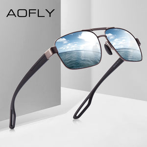AOFLY DESIGN Men's Polarized Metal Driving Sun Glasses. Square Shades Oculos Masculino Eyewear Goggles