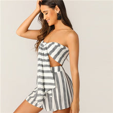 Load image into Gallery viewer, SHEIN Boho Black and White Knotted Front Striped Strapless Tube Crop Top and Sexy Shorts Set.