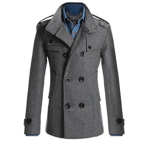 Men's Business Trench Formal Smart Woolen Jacket. Casual Slim Office Windbreaker Male Overcoat 2019