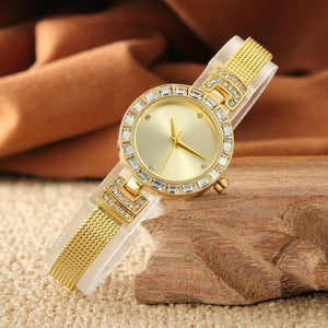 Women's Elegant Fashion Quartz Rhinestone Buckle Button Battery Watch