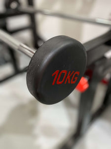 10kg Fixed Straight Barbell Rubber Weight Steel Bar Head
