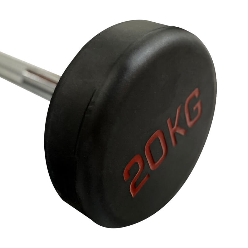 20kg Fixed Straight Exercise Barbell Rubber Weight Steel Bar