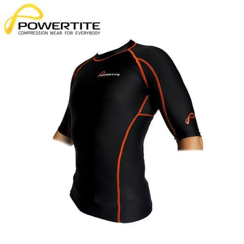 POWERTITE MEN COMPRESSION TIGHTS SKINS SHORT SLEEVES TOP - SIZE SMALL - sweatcentral