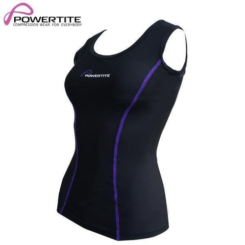 Image of POWERTITE WOMENS COMPRESSION SKINS SLEEVELESS TANK TOP SINGLET & SUPPORT BRA - Size Small - sweatcentral