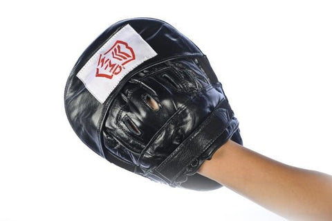 CURVED 100% LEATHER BOXING MMA PUNCH FOCUS PAD MITTS - sweatcentral