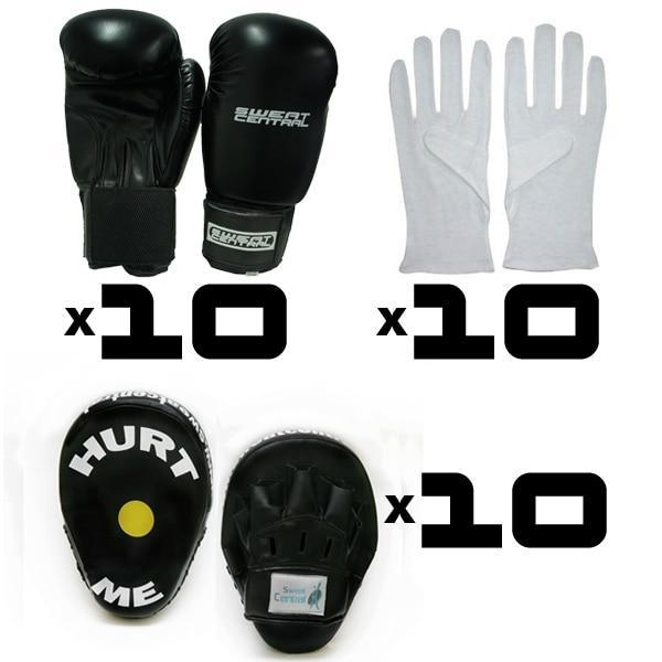 GOLD PACK 10 Pairs of BOXING GLOVES, FOCUS PADS & BOXING INNERS - sweatcentral
