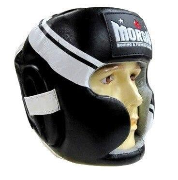 MORGAN PROFESSIONAL LEATHER FULL FACE HEAD GUARD HEAD GEAR PROTECTIVE GEAR - sweatcentral