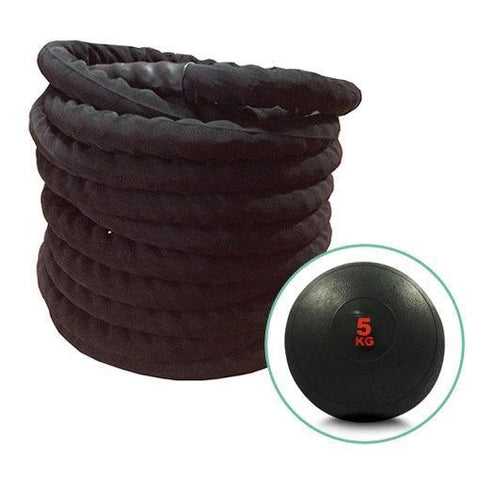 15m BATTLE ROPE & 5KG SLAM BALL SET - sweatcentral