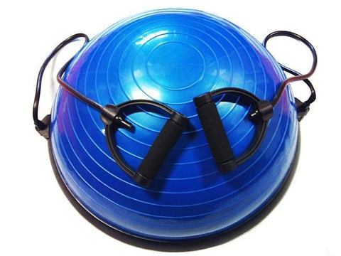 BOSU EXERCISE BALL WITH RESISTANCE BANDS AND HANDLES BALANCE BALL - sweatcentral