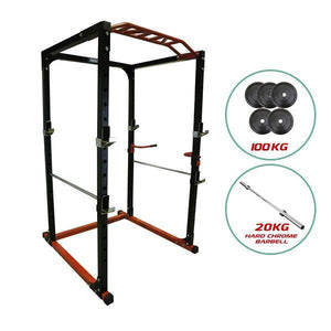 POWER PACKAGE PR528 POWER CAGE 100kg BUMPER WEIGHTS & HARD CHROME BARBELL - sweatcentral