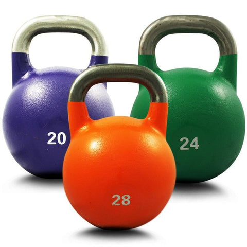 SET OF 20KG 24KG 28KG COMPETITION PRO GRADE STEEL KETTLEBELL KETTLE BELL GYM WEIGHT - sweatcentral