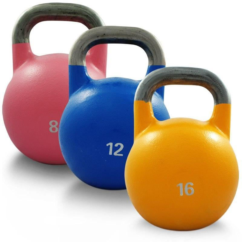 SET OF 8KG 12KG 16KG COMPETITION PRO GRADE STEEL KETTLEBELL KETTLE BELL GYM WEIGHT - sweatcentral