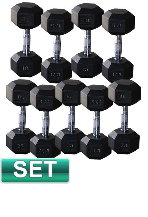 10KG - 25KG RUBBER HEX DUMBELL WEIGHTS DUMBBELL SET - sweatcentral