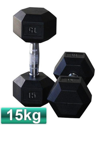 15KG PAIR OF RUBBER HEX DUMBBELLS - sweatcentral