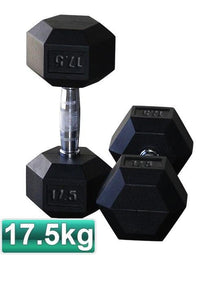 17.5KG PAIR OF RUBBER HEX DUMBBELLS - sweatcentral